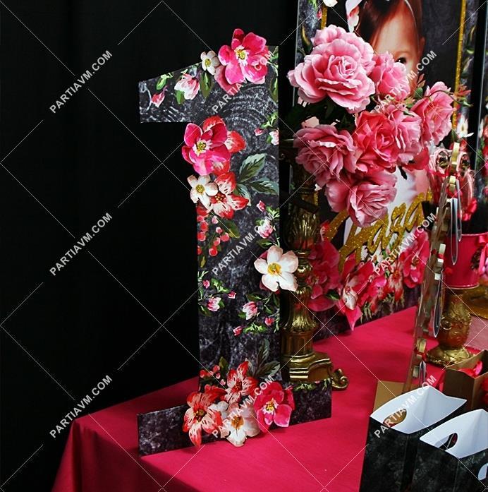 Siyah Fuşya Vintage Doğum Günü 50 Cm Rakam Pano Kağıt çiçek