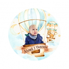 Partiavm Cute Hot Air Balloons Yuvarlak Etiket 7,5cm 10 Adet