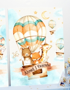 Partiavm Cute Hot Air Balloons 70x100 cm Katlanmaz Pano Afiş
