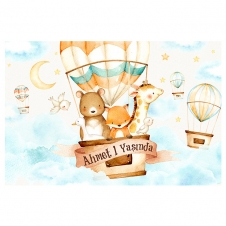 Partiavm Cute Hot Air Balloons 150x100 cm Dev Yırtılmaz Branda Afiş