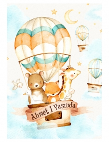 Partiavm Cute Hot Air Balloons 70x100 cm Yırtılmaz Branda Afiş
