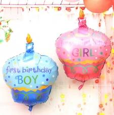 SAMM Folyo Cupcake Balon First Birthday Boy / First Birthday Girl 48x70 cm